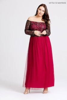 Little Mistress Curve Sequin Detailed Bardot Maxi Dress