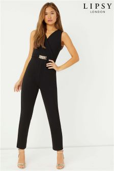 Lipsy Metal Trim V neck Jumpsuit