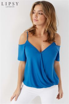 Lipsy Cobalt Wrap Cold Shoulder Cami Top