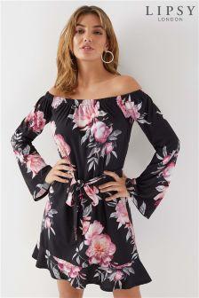 Lipsy Floral Flute Sleeve Bardot Dress