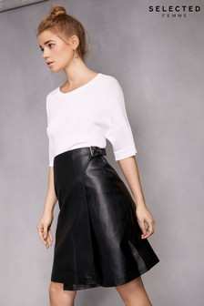 Selected Femme Leather Wrap Skirt