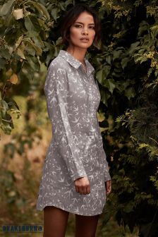Brakeburn Birds Print Shirt Dress