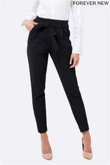 Forever New Petite Tie Waist Tapered Trousers