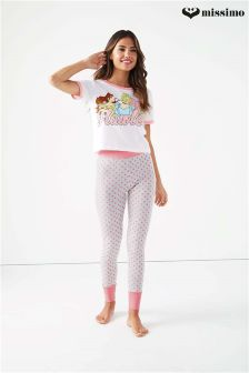 Missimo Nightwear Disney Princess Print Top & Leggings PJ Set