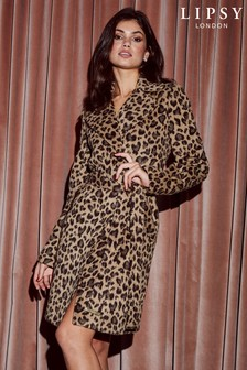 Lipsy Leopard Wool Blend Coat