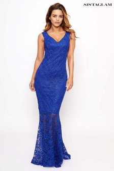 Sistaglam Sequin Lace Bardot Maxi Dress