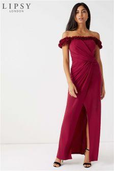 Lipsy Floral Ruffle Bardot Maxi Dress