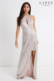 Lipsy Metallic Pleated Halterneck Maxi dress