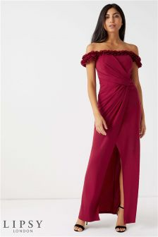 Lipsy Petite Floral Ruffle Bardot Maxi Dress