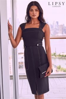 Lipsy Contrast Stitch Square Neck Midi Dress