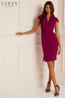 Lipsy Plunge Neck Pleated Bodycon Dress