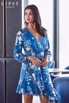 Lipsy Madison Print Long Sleeve Wrap Dress