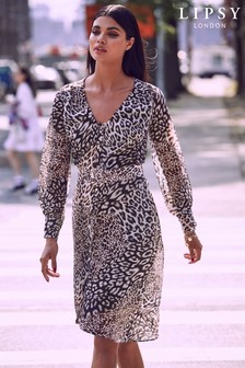 Lipsy Leopard Print Self Belt Dress