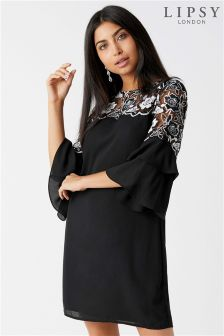 Lipsy Lace Yoke Frill Shift Dress