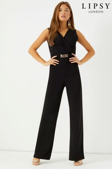e0b74e70afb2 Lipsy Metal Trim V neck Wide Leg Jumpsuit