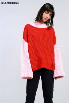 Glamorous Colour Block Knitted Two Tone Jumper