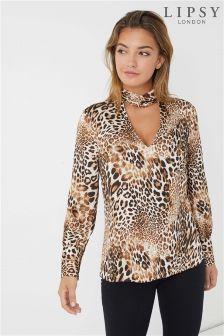 Lipsy Leopard Twist Choker Blouse