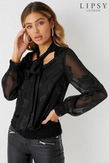 Блузка с выжженным узором и завязкой Lipsy
