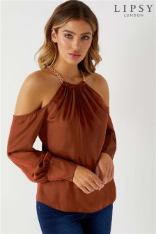 Lipsy Chain Satin Cold Shoulder Top