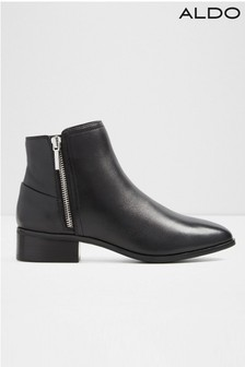 Aldo Side Zip Flat Leather Ankle Boot