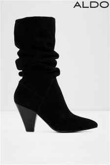 Aldo Ladies Cone Heel Slouch Calf Leather Boot
