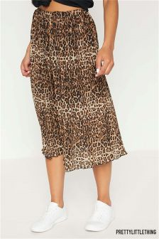 PrettyLittleThing Leopard Print Pleated Midi Skirt