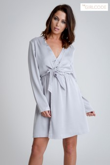 The Girlcode Tie Front Shirt Mini Dress