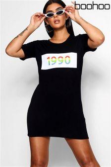 Boohoo Rainbow Slogan T-Shirt Dress