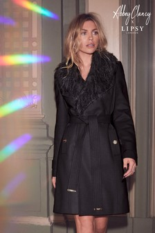 Abbey Clancy x Lipsy Faux Fur Collar Wrap Coat