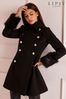 Lipsy Faux Fur Cuff Military Coat