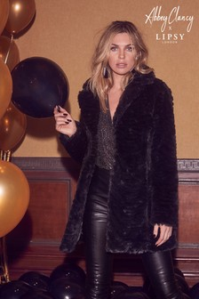 Abbey Clancy x Lipsy Zebra Faux Fur Coat