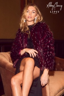 Abbey Clancy x Lipsy Tipped Faux Fur Coat