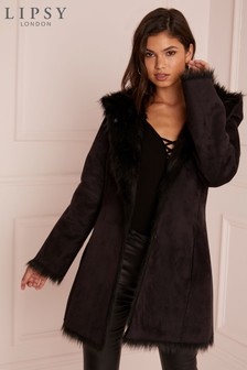 Lipsy Black Reversible Fur Coat