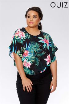 Quiz Curve Tropical Print Batwing Top