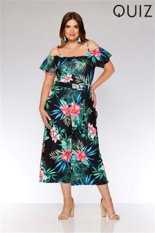 Quiz Curve Tropical Print Cold Shoulder Frill Sleeve Jumpsuit