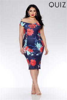 Quiz Curve Scuba Flower Print Crossover Bardot Midi Dress