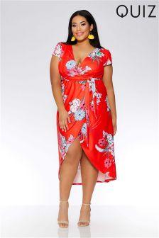 Quiz Curve Floral Print Wrap Front Dip Hem Dress