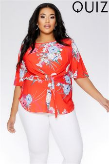 Quiz Curve Crepe Oriental Print Knot Front Fluted Sleeve Top