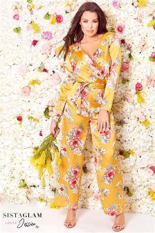 Sistaglam Loves Jessica Floral Print Long Sleeve Body