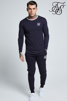 SikSilk Long Sleeve Ringer Gym Top