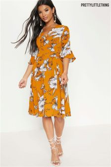PrettyLittleThing Floral Print Wrap Dress
