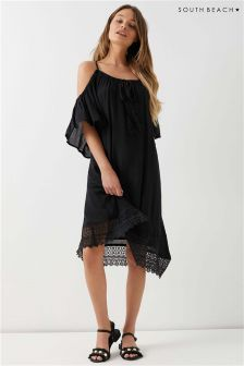 South Beach Cold Shoulder Lace Short Sleeve Kaftan