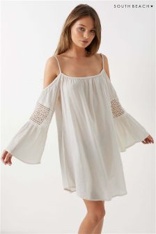 South Beach Strappy Cold Shoulder Flare Sleeves Kaftan