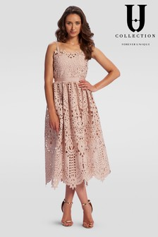 Forever Unique Strappy Lace Midi Dress