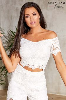 Sistaglam Loves Jessica Crochet Lace Crop Top