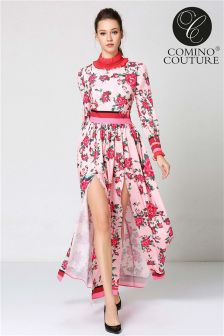Comino Couture Floral Print Maxi Dress