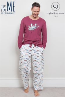 Cyberjammies Racing Car Top Print Pajama Set
