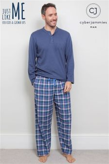 Cyberjammies Knit Top Check Pajama Set
