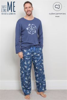 Cyberjammies Placement Print Top Pajama Set