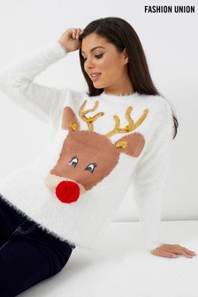 Fashion Union Cute Reindeer Jumper